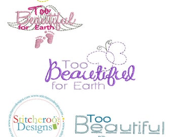 Too Beautiful for  Earth mini Designs-Charity priced -Approx sizes  2x2 and 3x3 in each- Instant Download - for Embroidery Machines