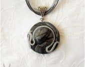 Elegant jewelry, Marbled pendant, Polymer clay, Black accessory, Handmade necklace, Circle form, Gift idea, Black silver