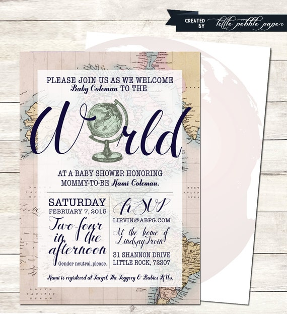 Welcome To The World Baby Shower Invitation Printable Baby