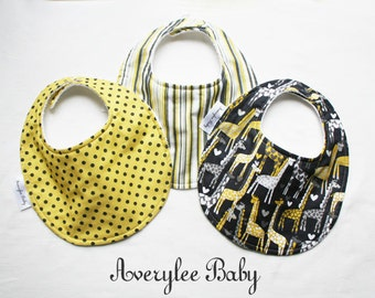 Baby Bib Spotted Love, Hearts and Giraffe Bib Set, Giraffe Bib Set, Toddler Bib, New Baby Gift, Baby Shower Gift Set, Chenille Bibs