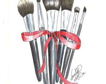 Makeup brushes print, Fashion illustration, Makeup illustration, Makeup painting, Makeup art, Beauty illustration, Fashion print