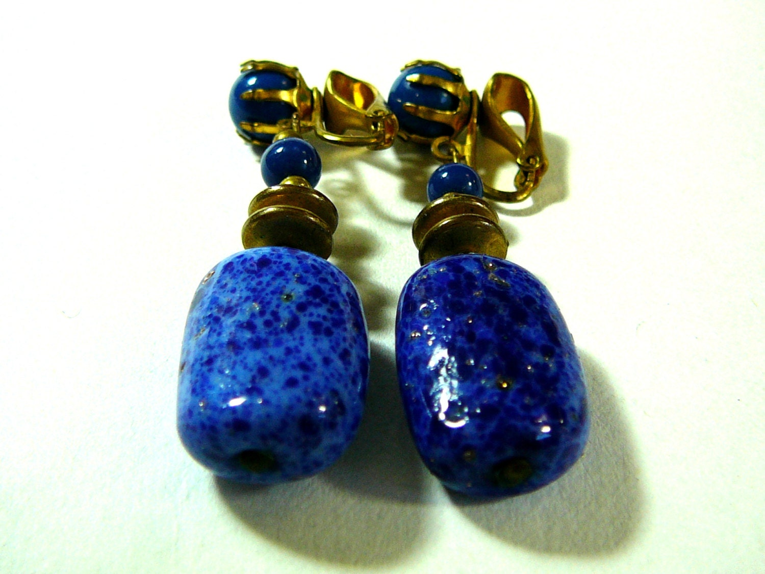 dangle earrings blue lapis polished stones by sylcameojewelsstore