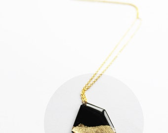 long gold dipped necklace vinyl record necklace modern necklace eco fashion recycled jewelry modern geometric gold pendant gift idea for her