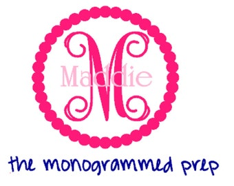 Vine Circle Monogram Car Decal Sticker with Name