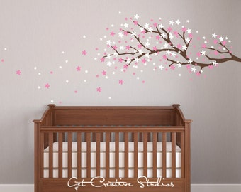 Cherry Tree Decal Cherry Blossom Decal Nursery Tree Decal Spring Decor Baby Room Decor Tree Wall Decal Cherry Tree Branch Decals