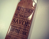 Words To Live By Laser Engraved Wine Bottle Shaped Bamboo Cheese Cutting Board