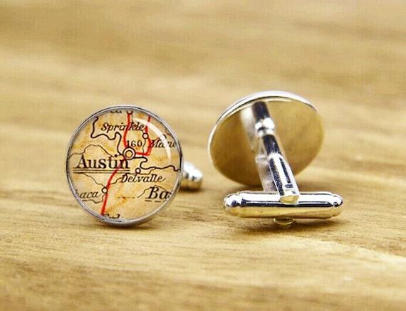 austin map cufflinks, wedding cuff link,customized us map cufflink & tie clip, custom city map cuff links, Map of Austin TX,vintage map gift