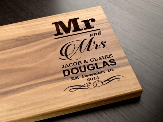 Wedding Gift Cutting Board: Engraved Cutting Board Personalized Wedding Gift Custom
