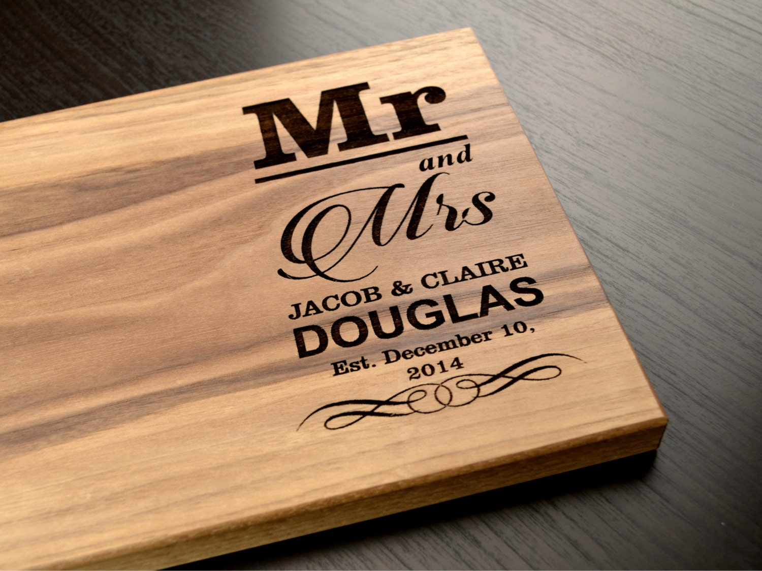 Wedding Gift Personalised: Engraved Cutting Board Personalized Wedding Gift Custom