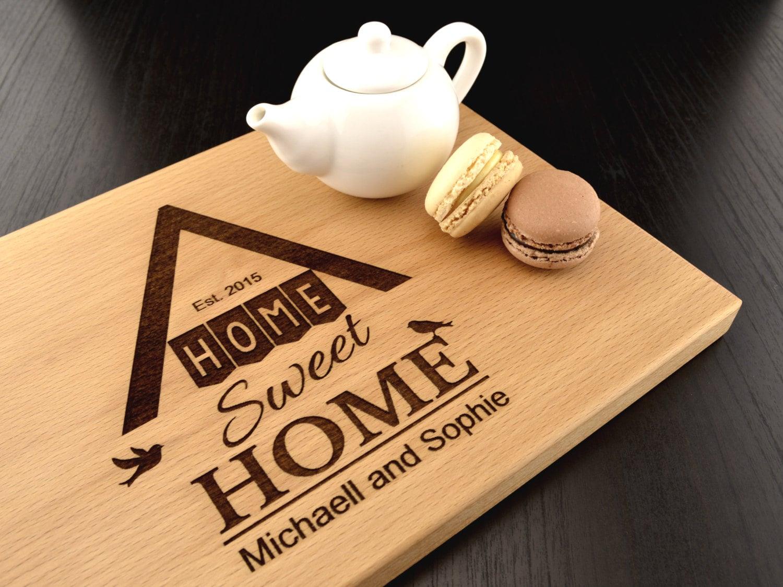 home sweet home graviert holz schneidebrett personalisierte. Black Bedroom Furniture Sets. Home Design Ideas