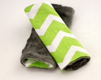 Carseat Strap Covers in Lime Chevron and Gray Minky