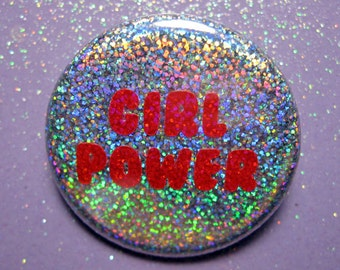 Holographic Girl Power 90s -feminist pin- feminist gifts