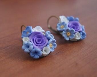 Purple  and blue flower earrings, flower bouquet earrings, clay earrings