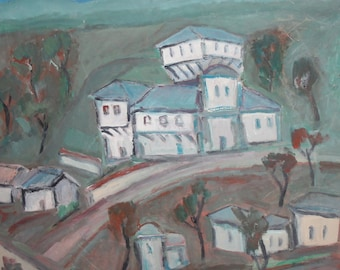 Bulgarian art expressionist oil painting cityscape landscape