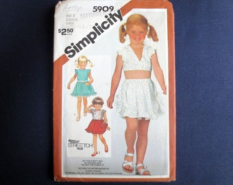 1983 Toddler Ruffly Top & Skirt Uncut Vintage Pattern, Simplicity 5909, Size 3, 4, 5
