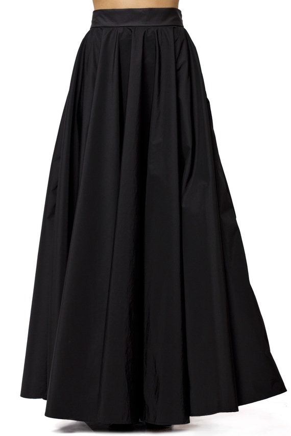 Maxi Black Skirt / Long Black Skirt / High Waist A Line Skirt