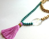 Handmade Pink Tassel Necklace THE KATIE Large Acrylic Clear Bead, Turquoise Accent Beads, Cream Wood Beads, Holiday Gift, Gift For Her