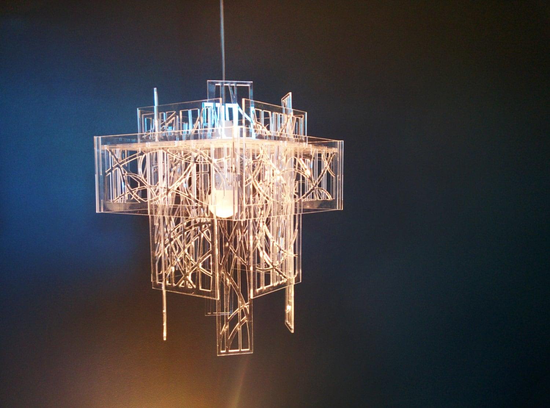 Acrylic Lamp Shades: Recycled acrylic - laser cut - light shade / chandelier,Lighting