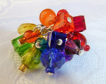 SALE Handcrafted 'Rainbow' Crystal & Glass Cluster Ring LGBT (FREE P+P)