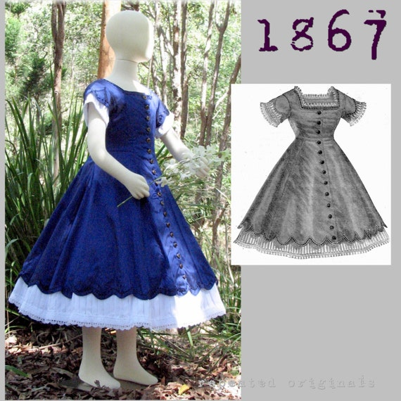 Victorian Kids Costumes & Shoes- Girls, Boys, Baby, Toddler 1867 Day Dress pattern for a girl 8 to 10 years old -Victorian Reproduction PDF Pattern - 1860s -  from La Mode Illustree $11.68 AT vintagedancer.com