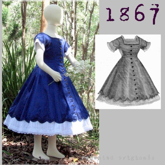 Steampunk Sewing Patterns- Dresses, Coats, Plus Sizes, Men's Patterns 1867 Day Dress pattern for a girl 8 to 10 years old -Victorian Reproduction PDF Pattern - 1860s -  from La Mode Illustree $11.68 AT vintagedancer.com