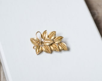 SALE! Vintage BSK Gold Tone Leaf Brooch, Leaf Swag Pin, Signed Jewelry