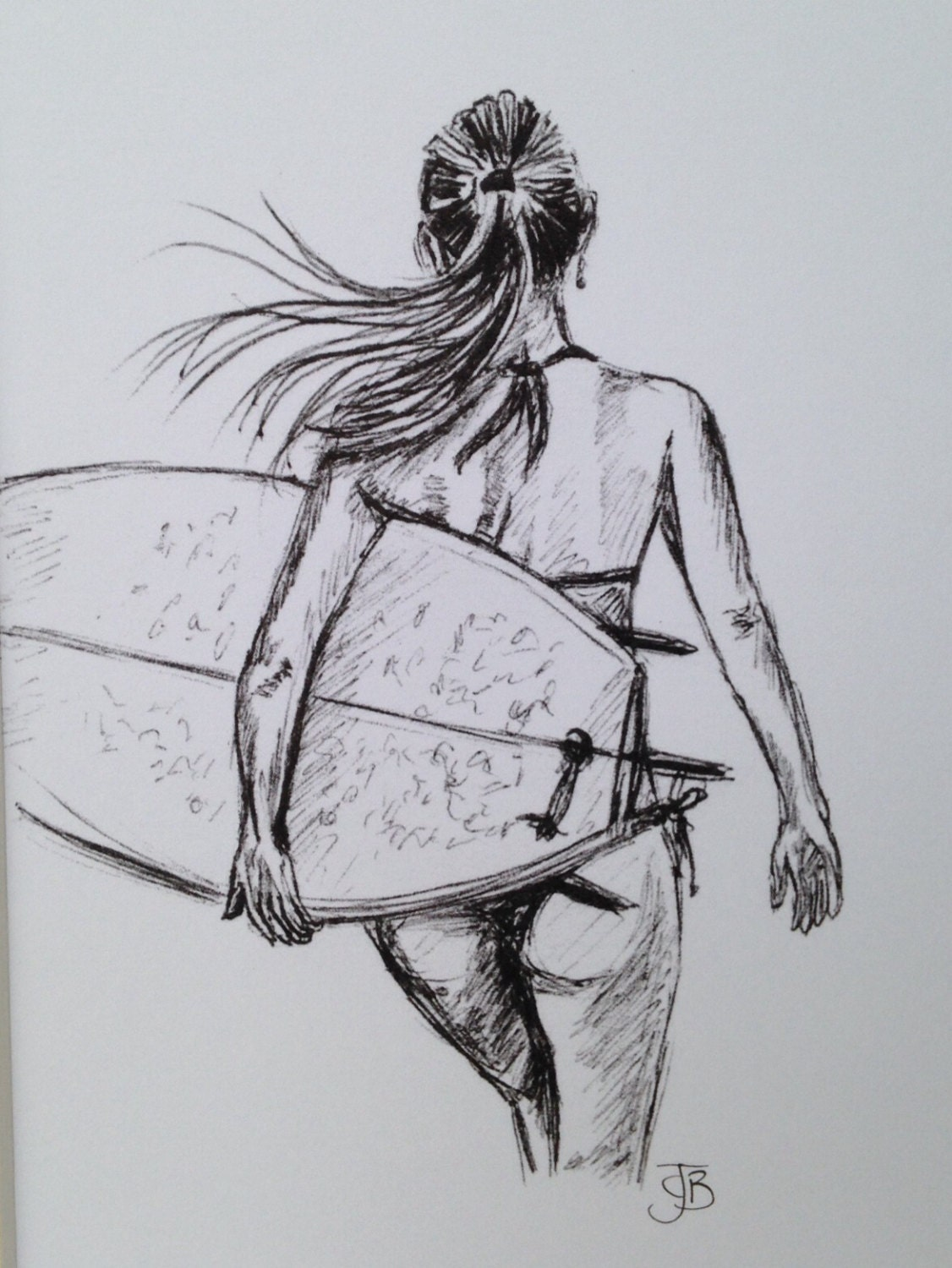Drawing Lines Surf Movie : Mounted signed print of biro sketch surfer girl surf art