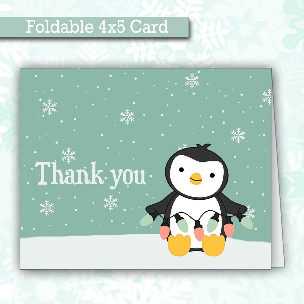 Cute Christmas Penguin THANK YOU cards Winter Thank You
