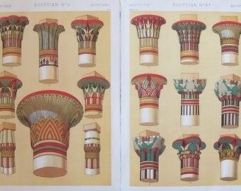 Set of 2: The Grammar of Ornament by Owen Jones, 1910 - Egyptian