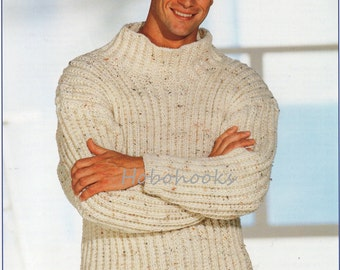 Mens Knitting Pattern Mens Chunky Ribbed Sweater Mens 26-52inches larger sizes Chunky Yarn Mens Knitting Patterns PDF instant download