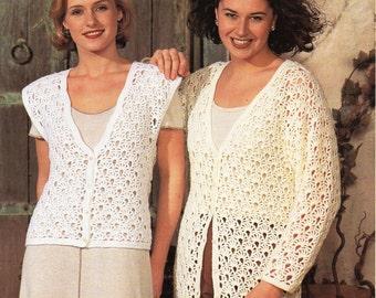 Ladies CROCHET PATTERN Ladies Crochet Cardigan Ladies Crochet Waistcoat  30-44 inch DK Womens Crochet Pattern Pdf Instant download
