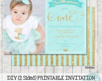 Mint & Gold Sparkle Glitter First 1st Birthday Invitation Printable (Digital Invite Personalised, Custom DIY Reverse Side Banner Princess