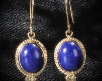 Sale!  14K Yellow Gold Genuine Lapis Lazuli Cabochon Etruscan Style Dangle Earrings, Artisan Handcrafted, Set with 10 x 8mm Lapis Gemstones