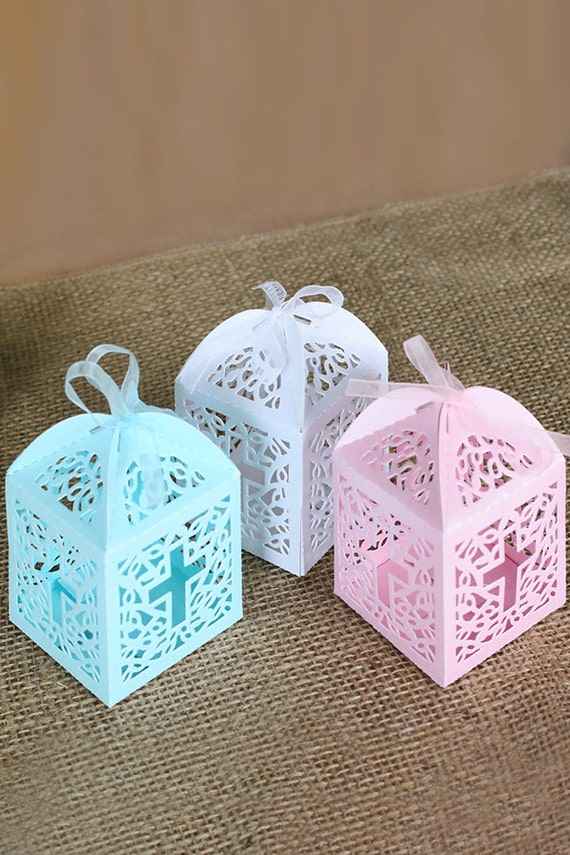 Black Treat Favor Boxes : Cross laser cut favor boxes with ribbon candy treat box