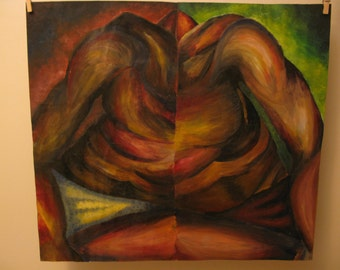 Original Acrylic Painting of a Male Torso Reflected in Contrast Colours.  64.5cm x 58.5cm