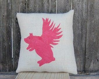 Flying Pig Pillow,Pig Pillow, Burlap Pillow,Farmhouse Chic Pillow,Flying Pig Decor,Rustic Decor,Rustic Chic,Accent Pillow,Decorative