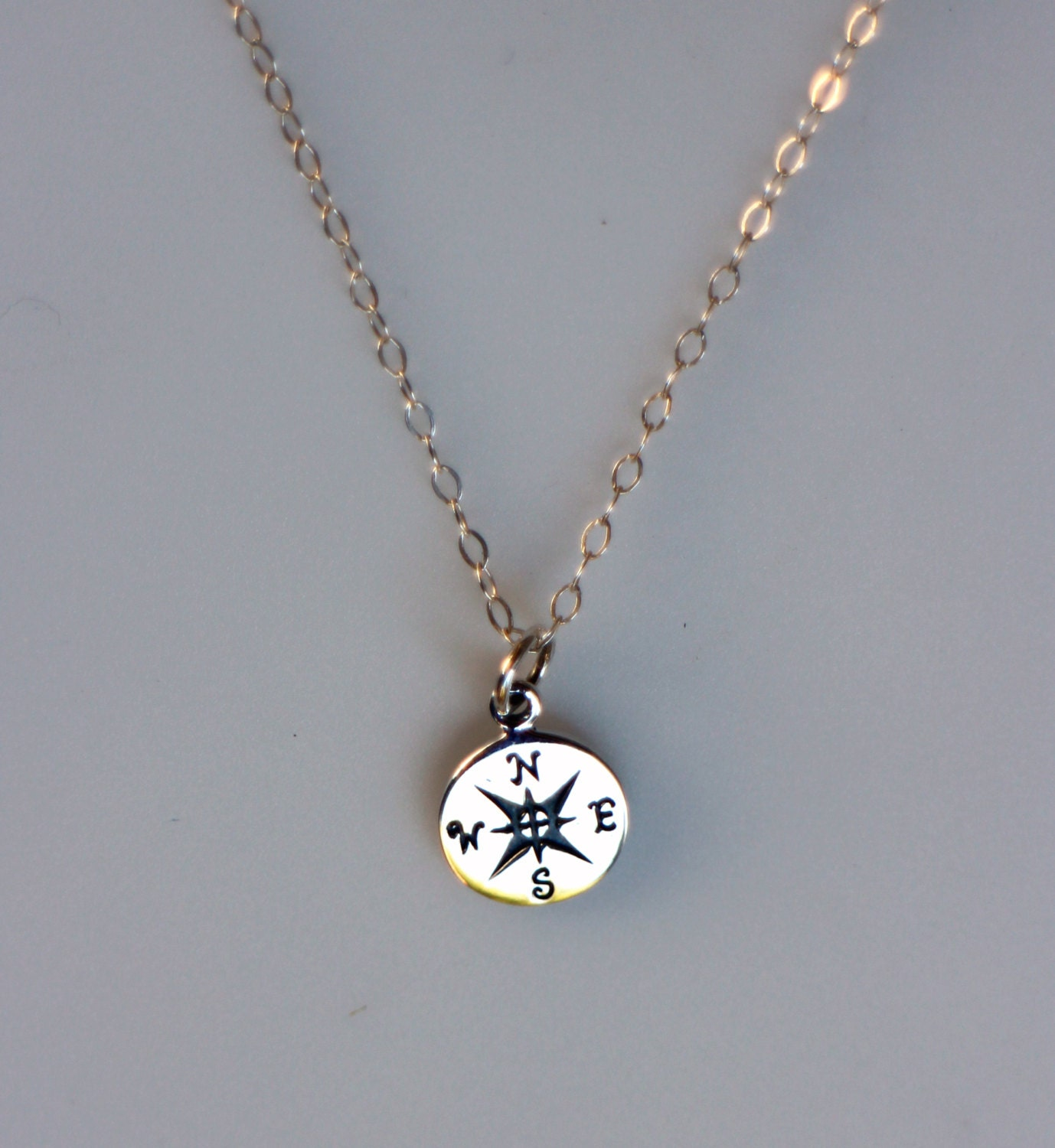 sterling silver compass graduation necklace journey necklace
