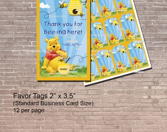 Personalized Winnie the Pooh Favor Tags /  Instant Download and Editable / Birthday Party / Pooh Party / Baby Shower / PRINTABLE