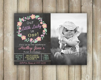 FIRST BIRTHDAY INVITATION - Little Lady First Birthday Invite - Girls 1st Birthday Invitation - Floral Wreath - Chalkboard - Digital File