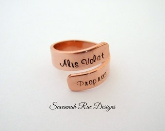 Handstamped wrap ring. Custom wrap ring. Personalized wrap ring. Custom jewelry. Handstamped jewelry. Copper wrap ring.