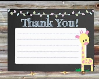 Jungle Theme Thank You Card - Jungle Boy Birthday Matching Thank You Card - Chalkboard Jungle Thank You Card - Party Animal Thank You Card