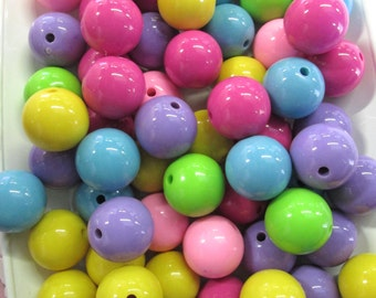 10 20mm Multicolor Bubble Gum Beads, Chunky Gumball Beads