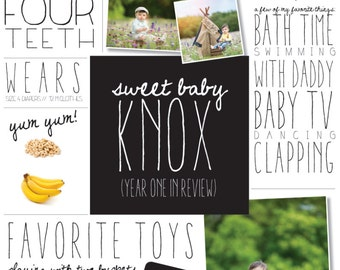 Baby's Year in Review: DIGITAL DOWNLOAD for Customized Baby's First Year Announcement