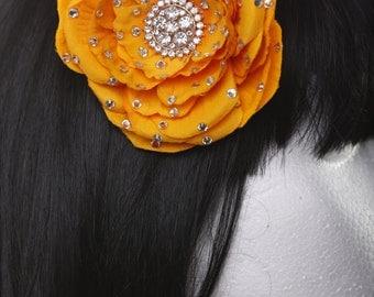 Orange Bridal Prom Pinup Showgirl Burlesque Hair flower