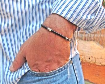Men's Bracelet, Men Bracelet, Men onyx Bracelet, Men's Beaded Bracelet, Black Men's Bracelet