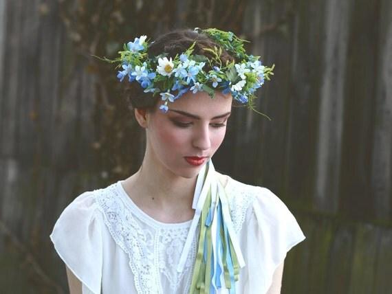 fleur cheveux couronne lumineuse bleue myosotis blanc vert. Black Bedroom Furniture Sets. Home Design Ideas