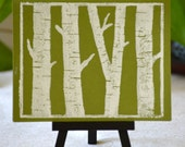 Birch Trees Printed Notecard Sets (White on Green)
