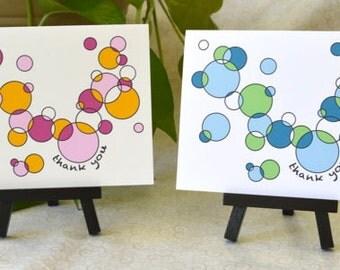 Blue/Green or Pink/Orange Circles Thank You Card Set