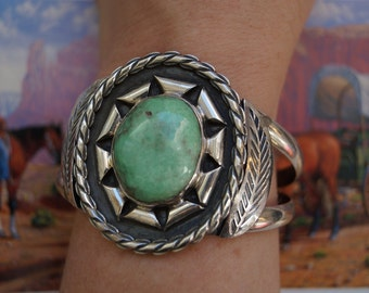Vintage Navajo Variscite Gem and Silver BRACELET, Native American Jewelry Collection