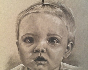 CUSTOM Child Portrait || 11x14 Charcoal Drawing || From your Photo!